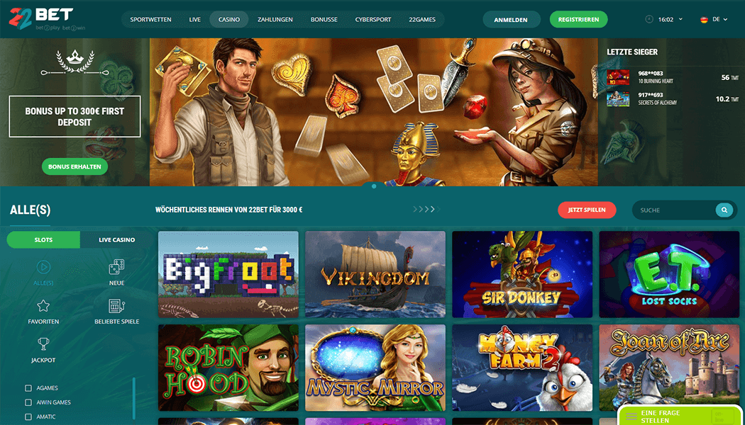 22Bet Casino Webseite
