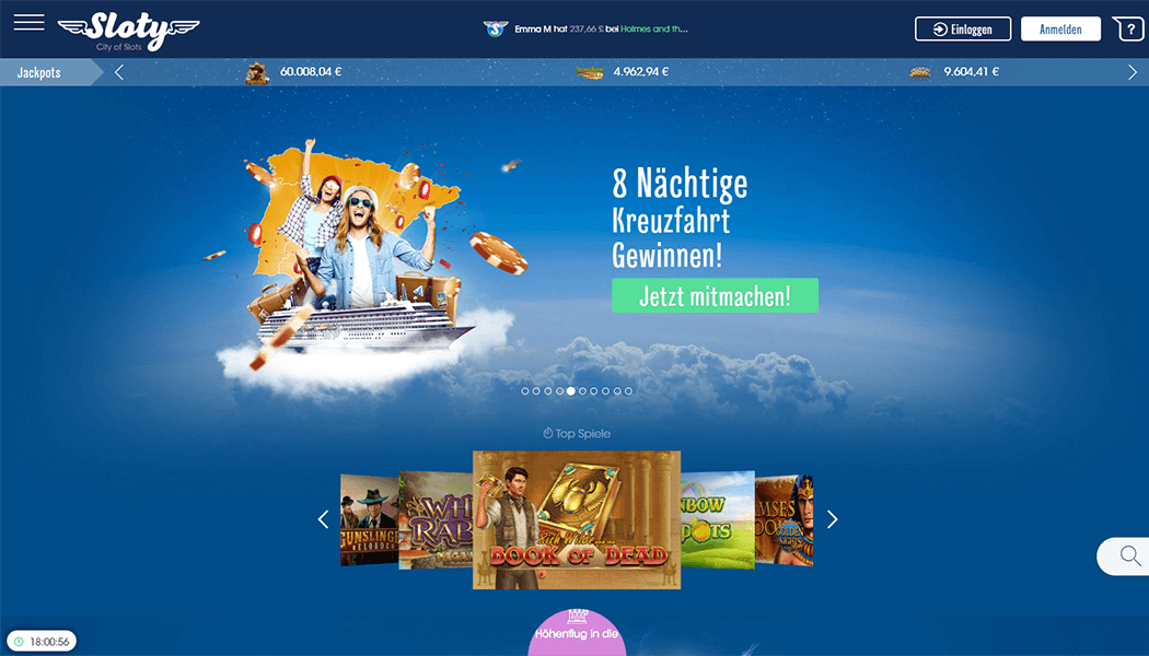 Screenshot Sloty Casino Plattform
