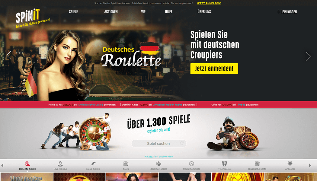 Der Screenshot der Spinit Casino Plattform