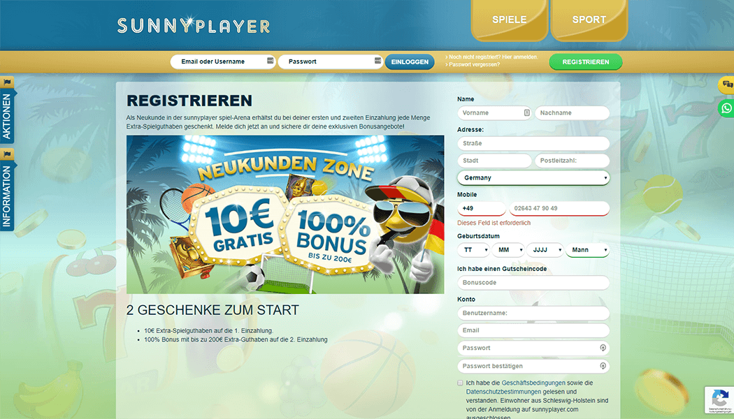 Sunnyplayer Casino Registrierungsformular