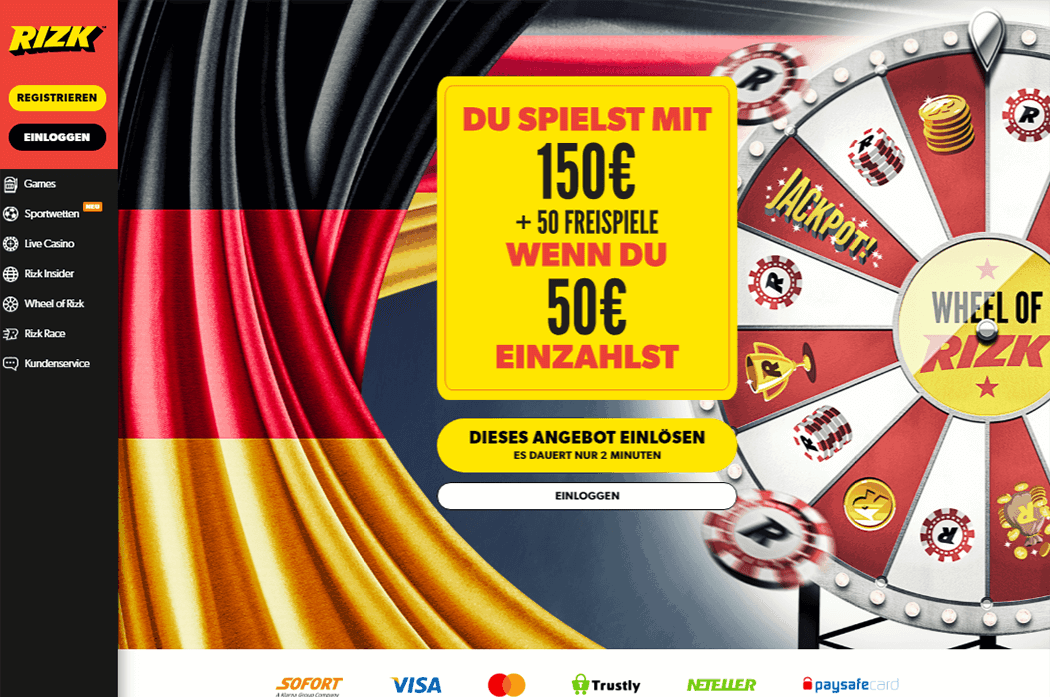Der Screenshot der Rizk Casino Plattform