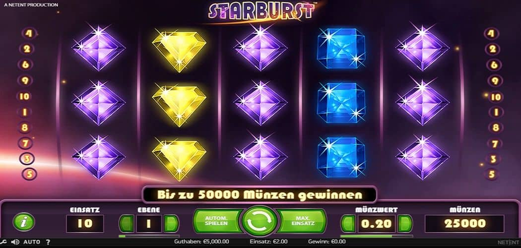 Screenshot des Starburst Slots