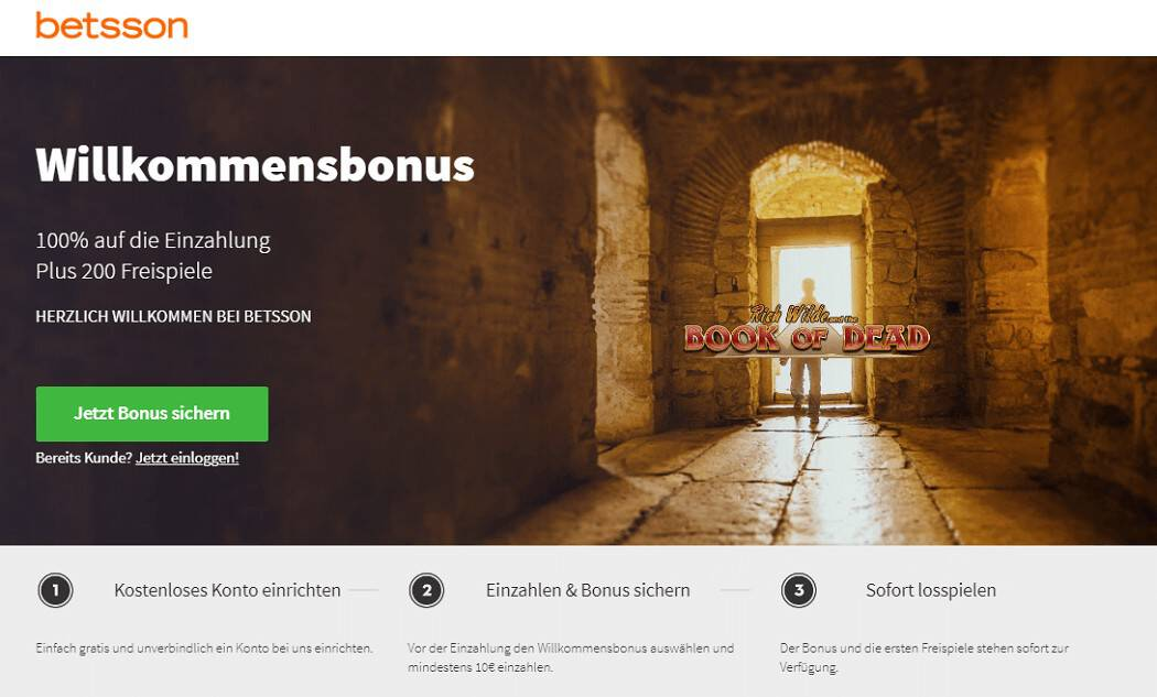 Der Screenshot des attraktiven Betsson Casino Bonus