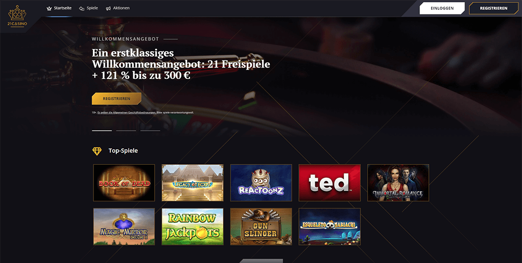 Die 21Casino Homepage