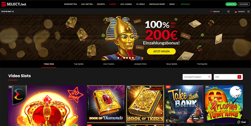 Webseite Select.bet Casino