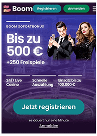 Mobile Boom Casino Webseite