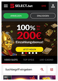 Mobile Selectbet Casino Webseite